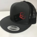 FLAT BRIM GRAY AND BLACK WITH RED FLAME
