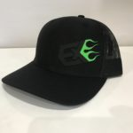 REG BLACK HAT WITH GREEN FLAME